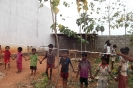 The children marking out the new dormitory